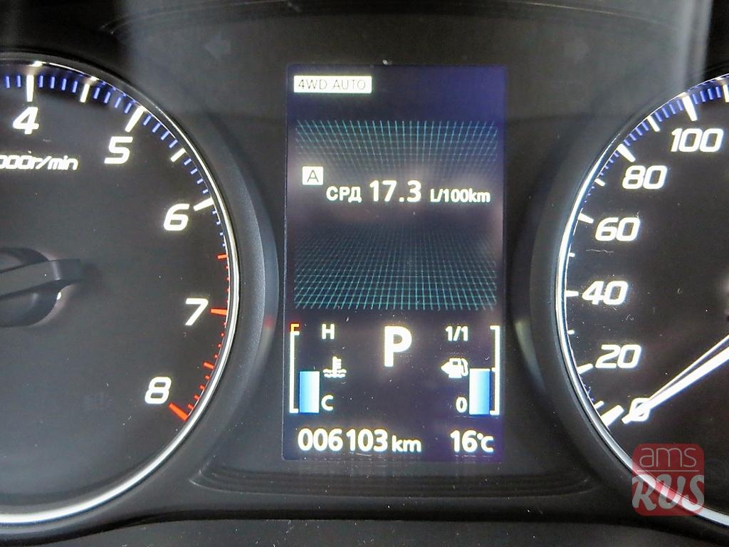 Тест-драйв Mitsubishi Outlander. Средний расход топлива - 17.3 литров, панель приборов