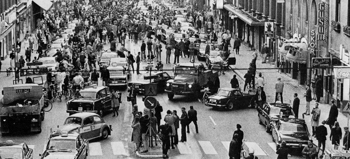 Смена направления движения в Швеции вылилась в самую большую пробку