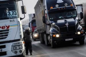 Акция протеста дальнобойщиков в Новосибирске
