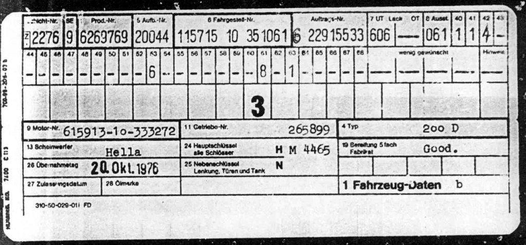 Mercedes-Benz 200D 1976 года выпуска