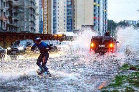 Вейкборд на улицах Москвы (фото и видео)