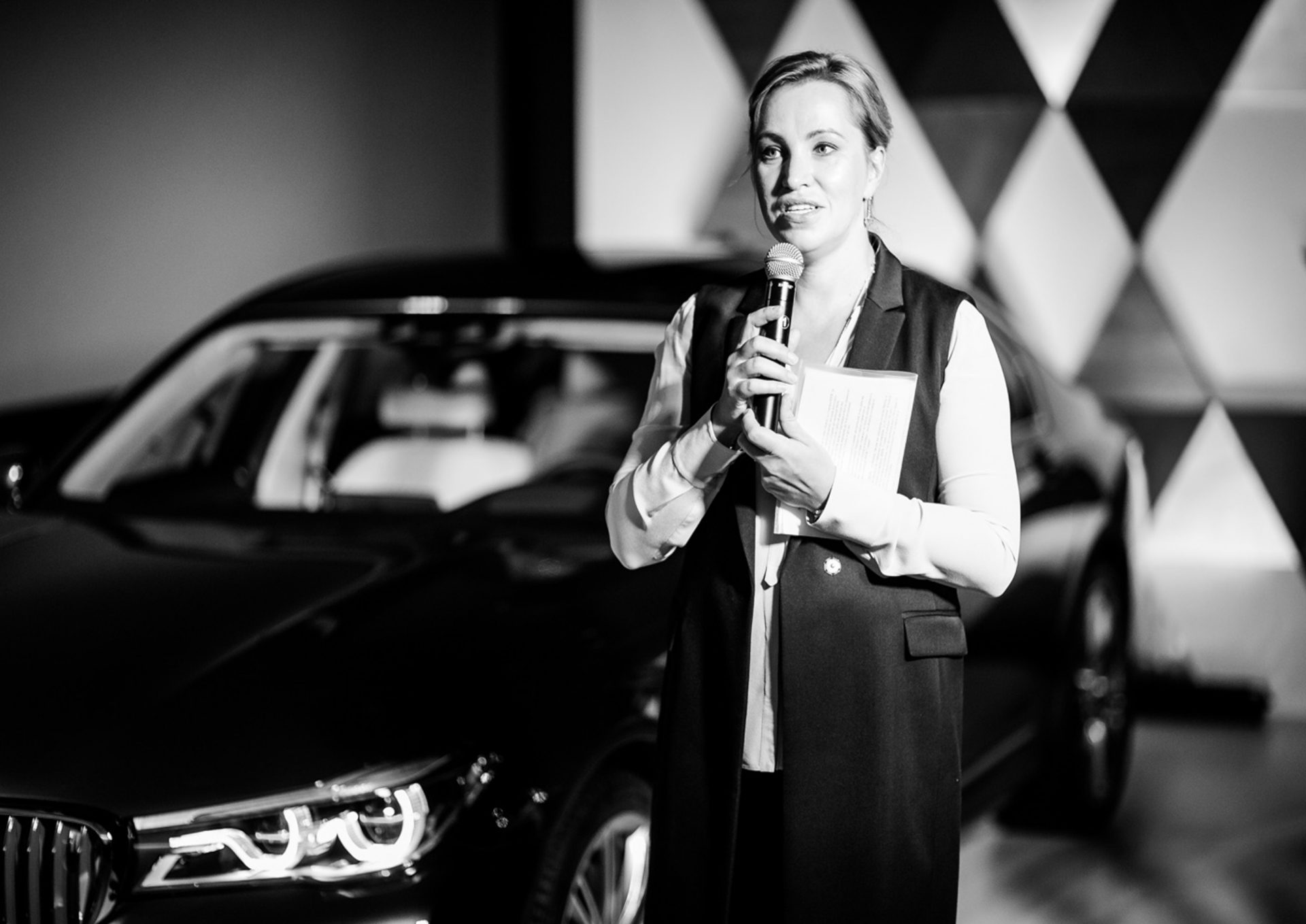 Elena Smirnova at the BMW Individual 750Li xDrive THE NEXT 100 YEARS presentation at the Museum of Russian Impressionism