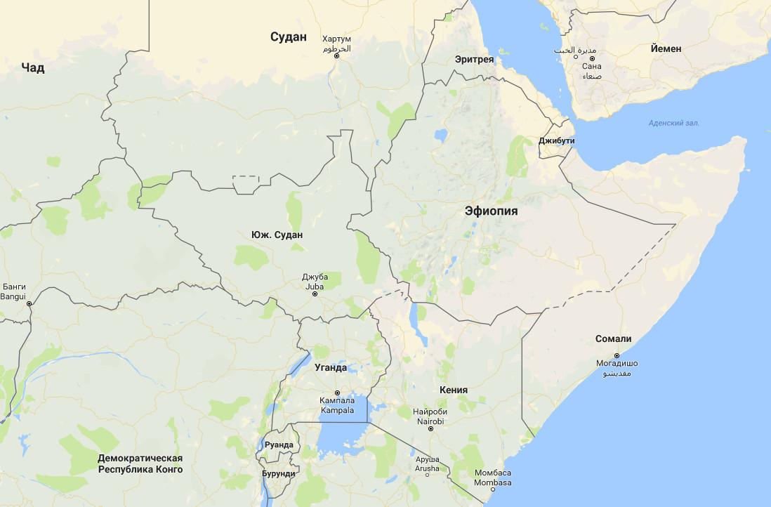 Карта Африки. Эфиопия