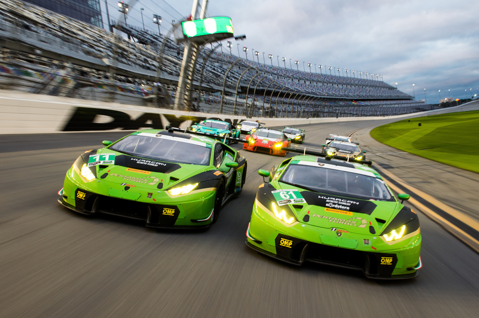 January 5-8, 2017: ROAR Before 24 Test. All 8 Lamborghini's on the Daytona banking during a filming session for Lamborghini. GRT Grasser Racing Team, Lamborghini Huracan GT3, Mirko Bortolotti, Christian Engelhart, Rolf Ineichen, Ezequiel Perez Companc and GRT Grasser Racing Team, Lamborghini Huracan GT3, Christian Engelhart, Rolf Ineichen, Christopher Lenz leading the pack