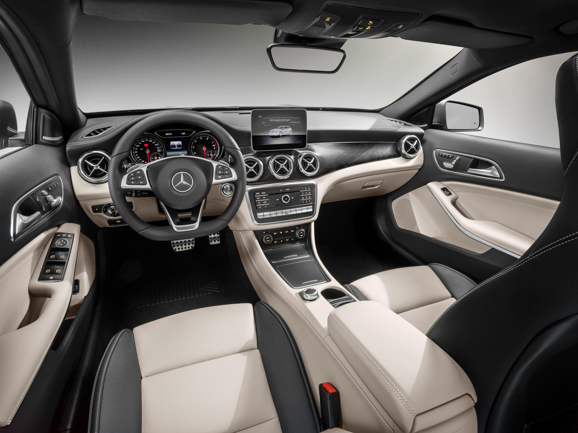 Mercedes-Benz GLA 250 4MATIC, AMG Line, Innenausstattung: Leder Schwarz/Beige, Mountaingrau magno, Studioaufnahme ;Kraftstoffverbrauch kombiniert: 6,5 l/100 km, CO2-Emissionen kombiniert: 152 g/km Mercedes-Benz GLA 250 4MATIC, AMG Line, mountain grey magno, Interior: leather black/beige, studio shot; Fuel consumption combined:  6.5 l/100 km; Combined CO2 emissions: 152 g/km