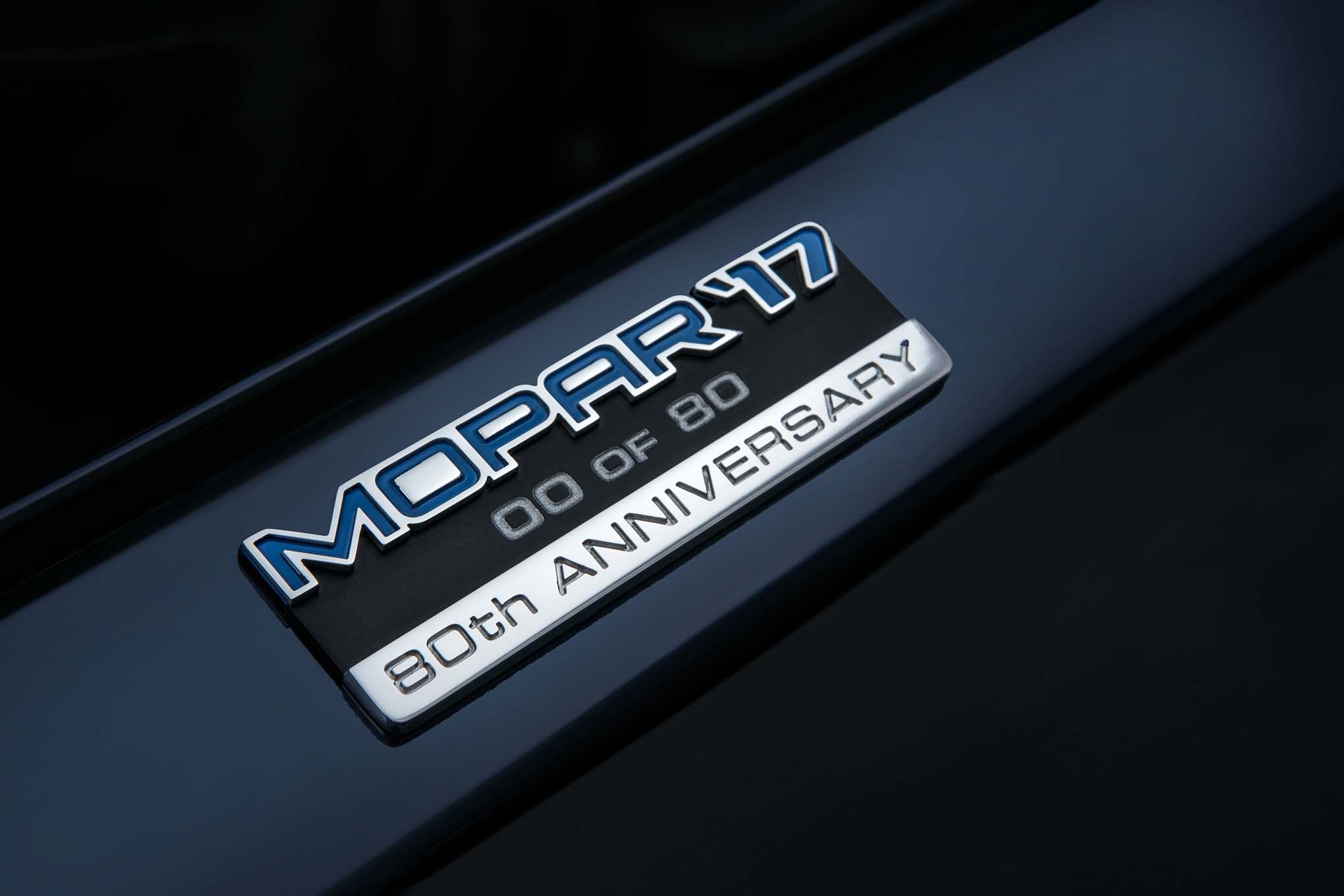 A special serialized Mopar '17 80th Anniversary badge is inclu
