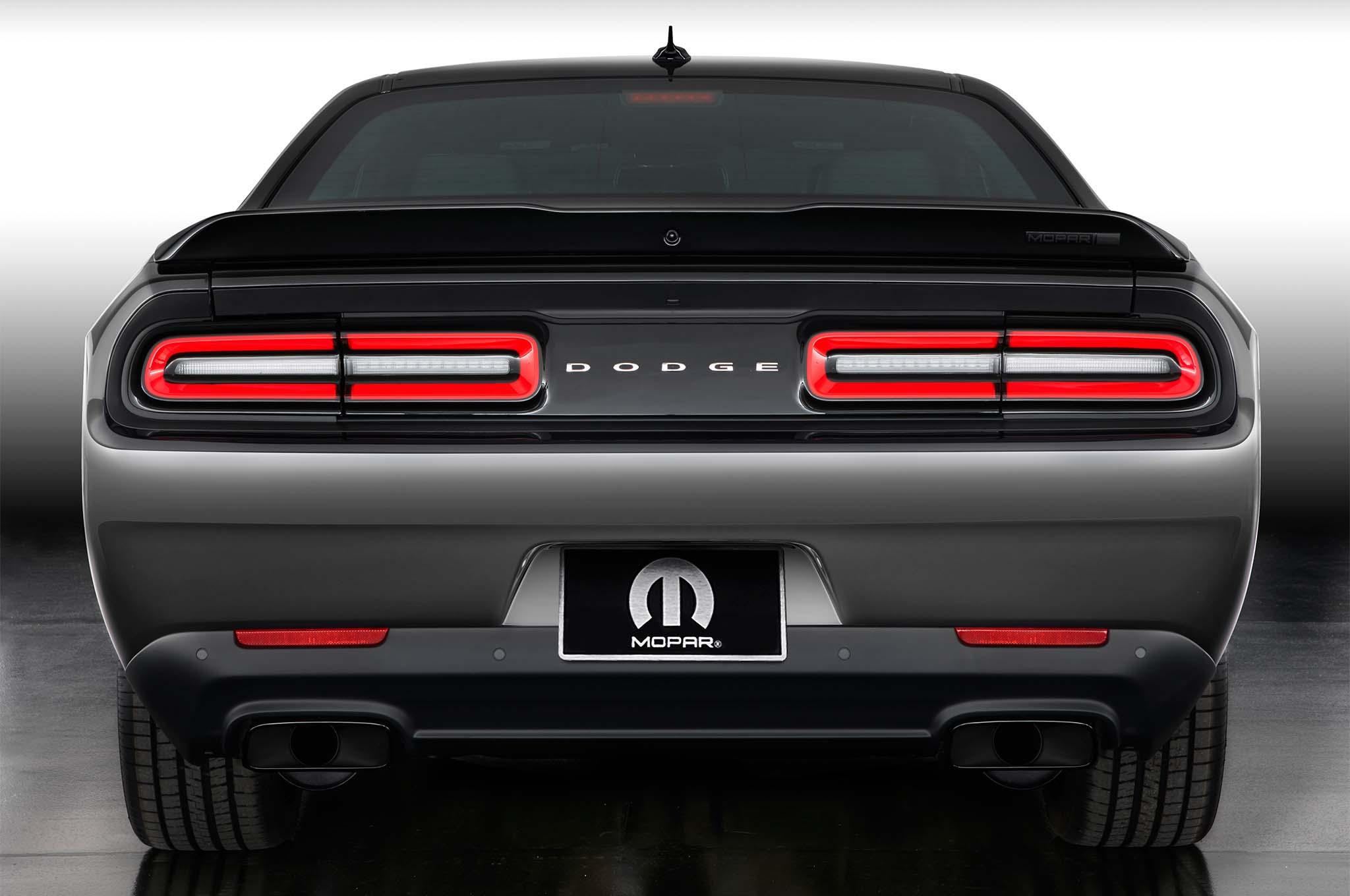 The rear decklid spoiler of the Mopar '17 Dodge Challenger rec