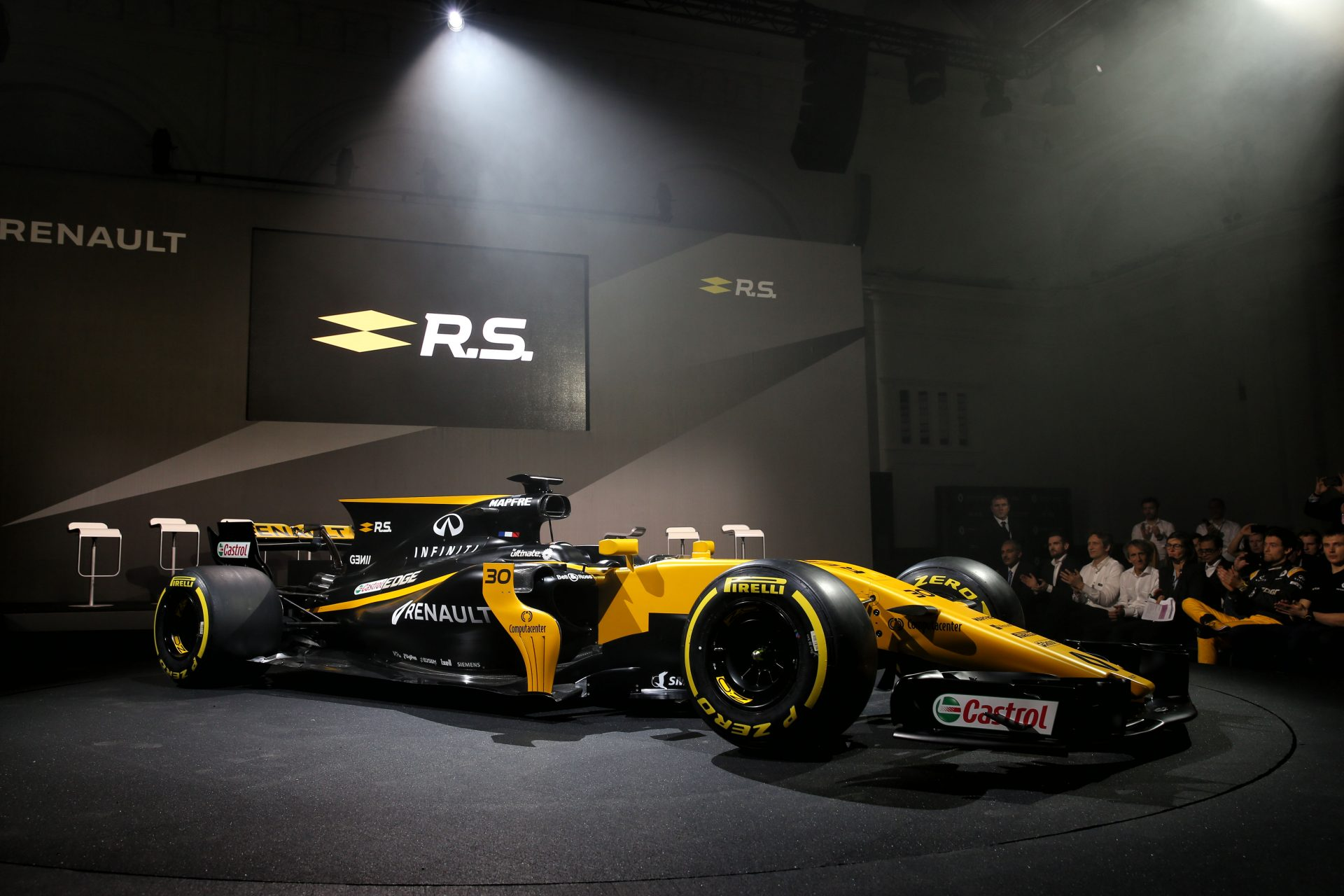 The Renault Sport F1 Team RS17 is unveiled. Renault Sport Formula One Team RS17 Launch, Royal Horticultural Society Headquarters, London, England. Tuesday 21st February 2017.