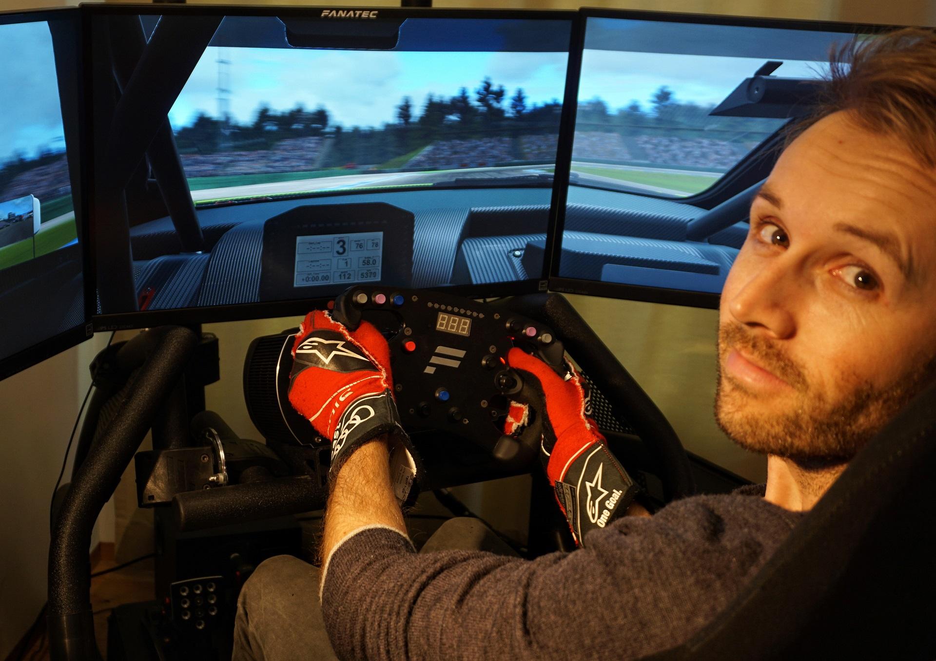 René Rast at the wheel of a virtual Audi RS 5 DTM