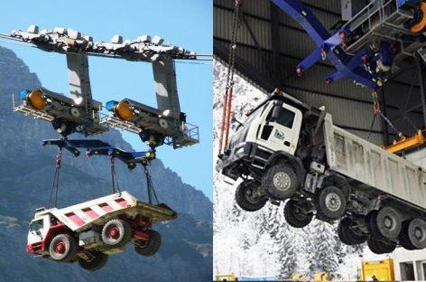 Промышленная канатная дорога в горах, транспортировка крупных машин и леса