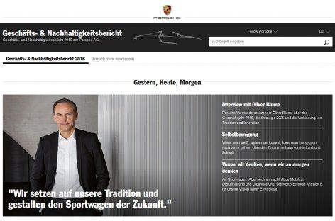 Porsche: комбинированный формат отчета