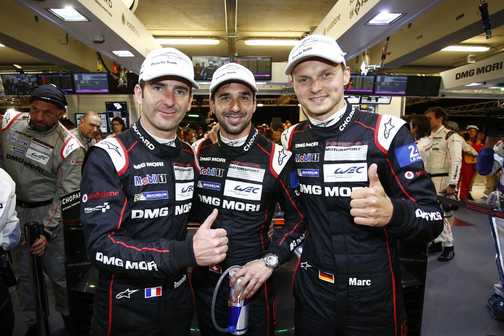 Porsche Team: (l-r) Romain Dumas, Neel Jani, Marc Lieb