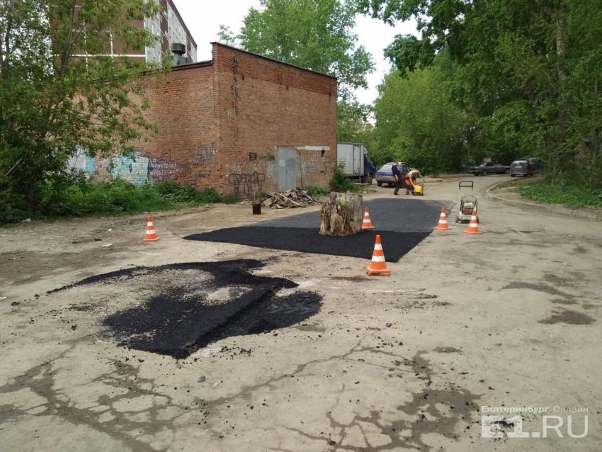 В Екатеринбурге заасфальтировали пень