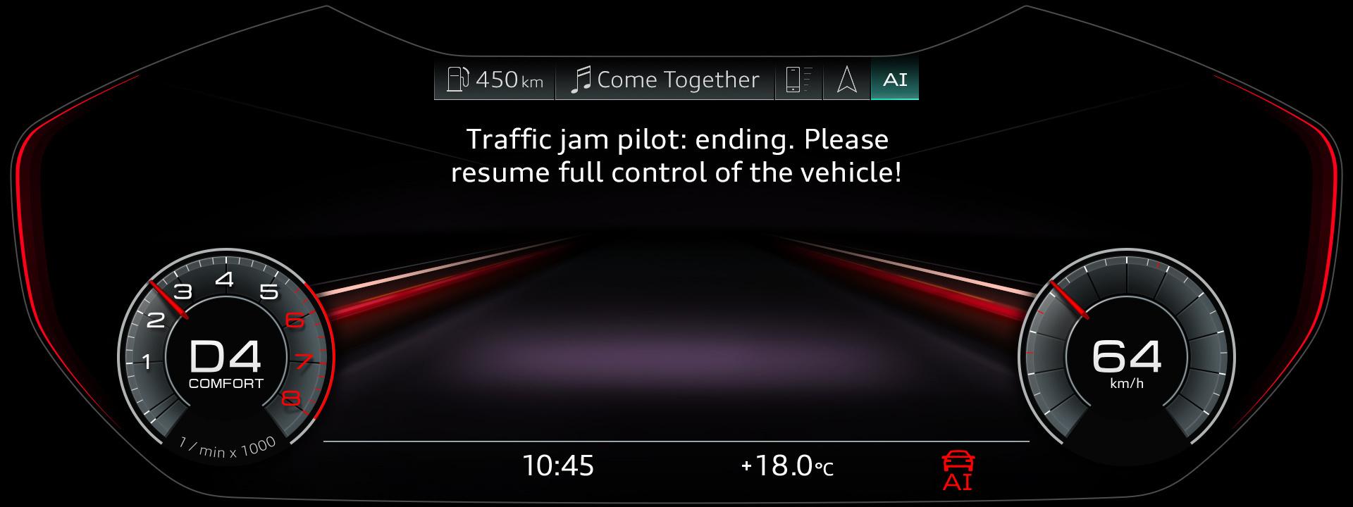 автопилотирование в условиях пробок Audi A8