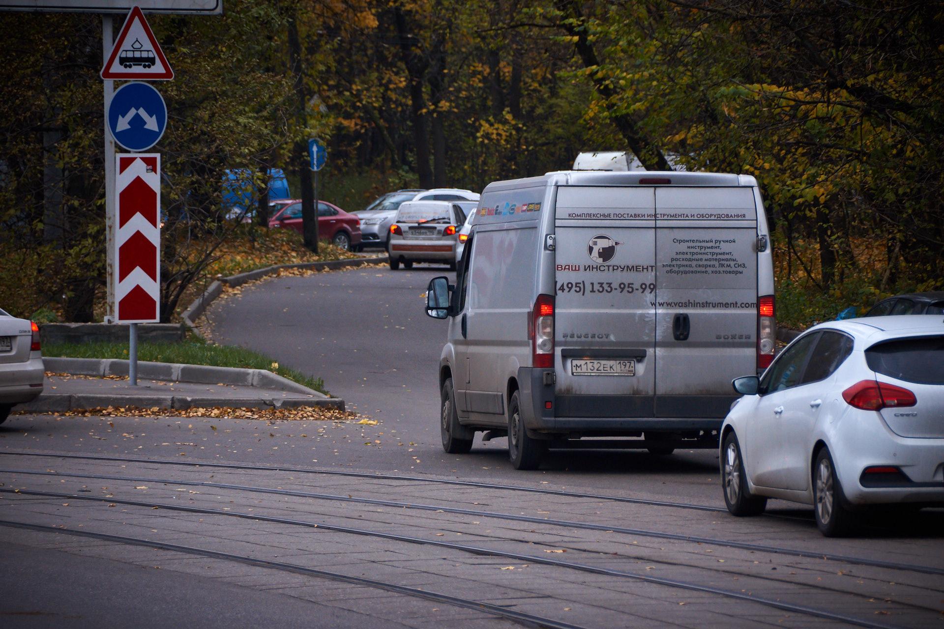 Движение, автомобили, Москва, трамвайные пути