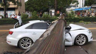 Кран раздавил автомобиль