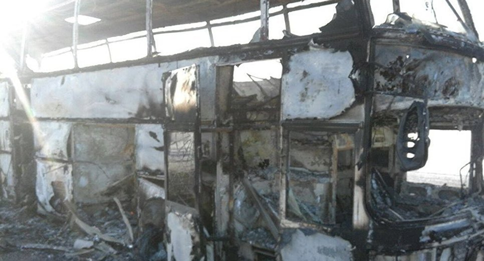сгоревший автобус Казахстан Актюбинская область 2018
