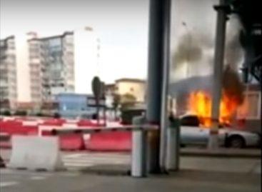 На российско-абхазской границе сгорел автомобиль