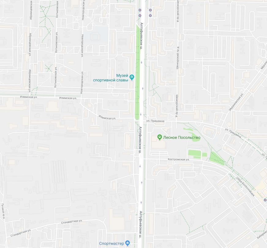 перекресток Алтуфьевского шоссе и улицы Пришвина