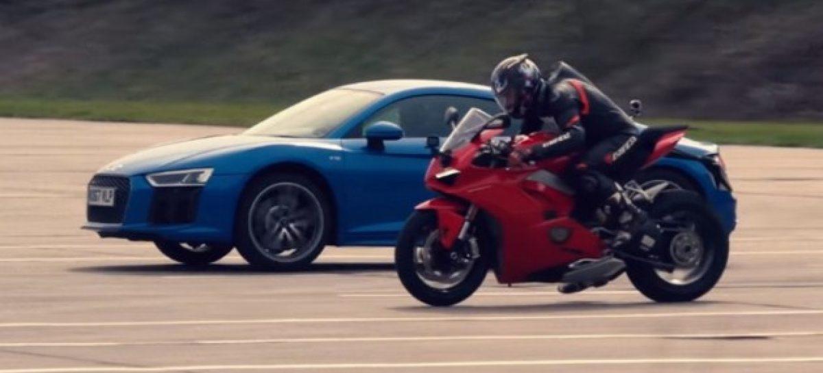 Audi R8 V10 и Ducati Panigale V4 сравнили в марафоне по прямой