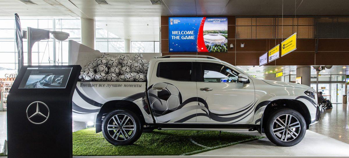 Экспозиция Mercedes-Benz X-Класса в аэропорту Шереметьево