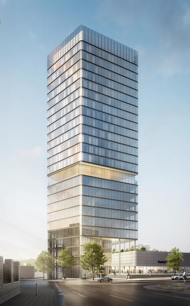 Der Porsche Design Tower enthält Büroflächen, ein exklusives Hotel, Gastronomie und Terrassen