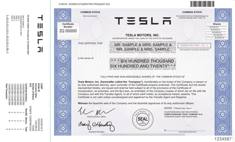 Акция Tesla