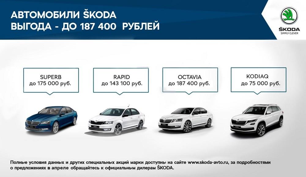 SKODA предлагает клиентам выгодные условия на покупку автомобилей в апреле (3)