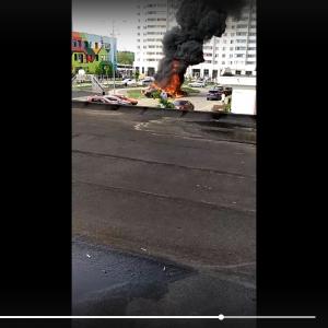 Взрыв при возгорании машин в новой Москве