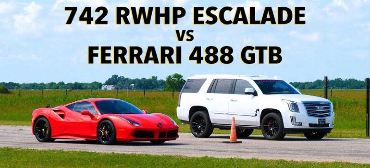 В дрэг-битве сразились Hennessey HPE800 Escalade и Ferrari 488 GTB