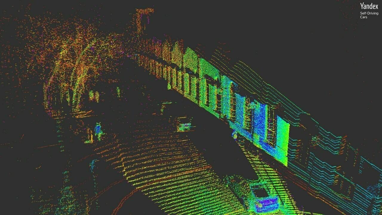 Трёхмерное изображение, полученное с помощью лидаров «Яндекса»