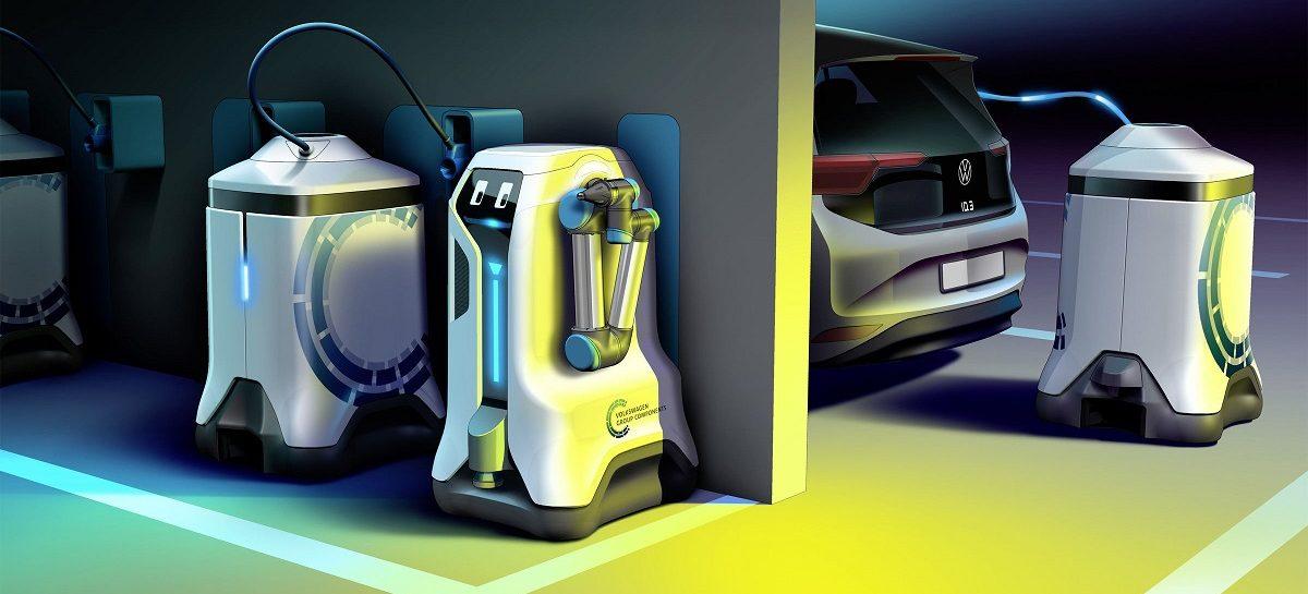 Volkswagen показал робота для зарядки электромобилей