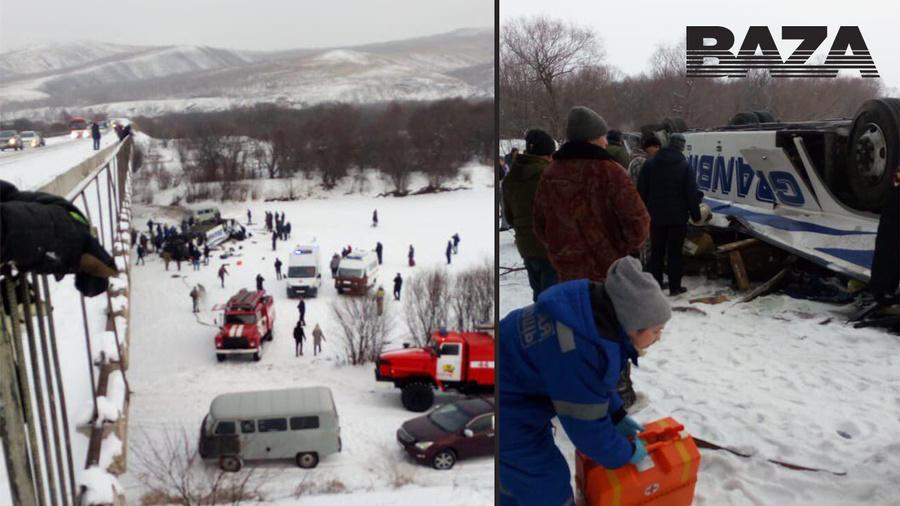Рейсовый автобус, следовавший по маршруту Сретенск—Чита, рухнул с моста на лёд замёрзшей реки
