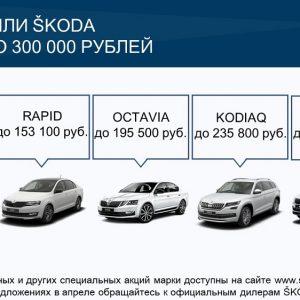 Škoda предлагает выгодные условия на покупку  автомобилей в апреле