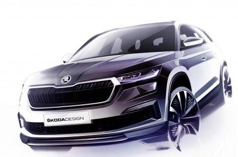 Škoda представляет первые три эскиза обновленного Kodiaq